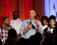 President Barack Obama sings 'Happy Birthday' to his daughter Malia Obama at the Fourth of July White House party on July 4, 2016 in Washington, DC. Maila Obama celebrated her 18th birthday during the party, which featured guests including singers Janelle