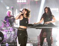 Yasmine Yousaf (L) and Jahan Yousaf of Krewella perform onstage at the MTV Fandom Awards San Diego at PETCO Park on July 21, 2016 in San Diego, California
