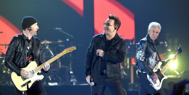 The Edge, Bono and Adam Clayton of U2 perform onstage at the 2016 iHeartRadio Music Festival at T-Mobile Arena on September 23, 2016 in Las Vegas, Nevada