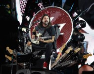 Dave Grohl of the Foo Fighters performs on stage during the Ansan Valley Rock Festival on July 26, 2015 in Ansan, South Korea