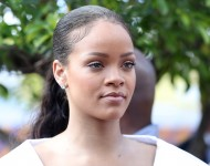 Rihanna attends the 'Man Aware' event held by the Barbados National HIV/AIDS Commission on the eleventh day of an official visit on December 1, 2016 in Bridgetown, Barbados