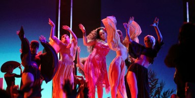 Rihanna performs onstage at the 2018 Grammy Awards in NYC