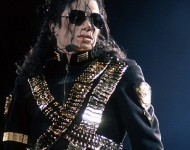The American singer Michael Jackson in the opening of one of the concerts of his