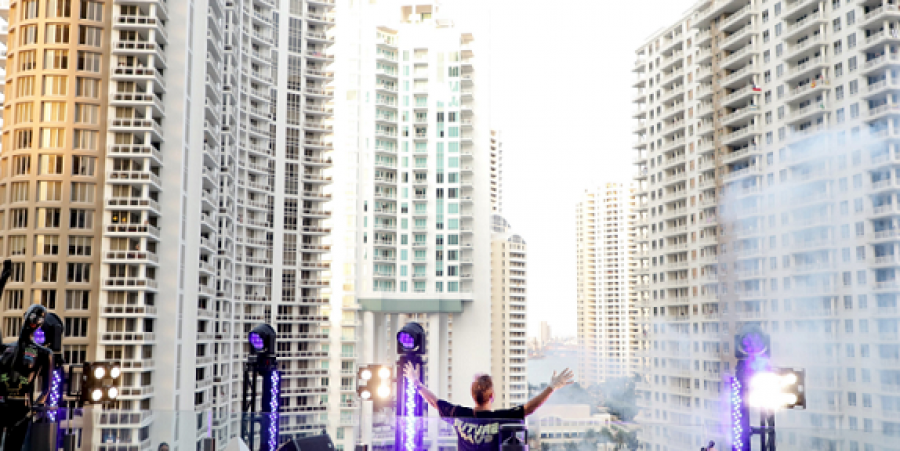 David Guetta performing from the rooftop in Miami for COVID-19 cause.