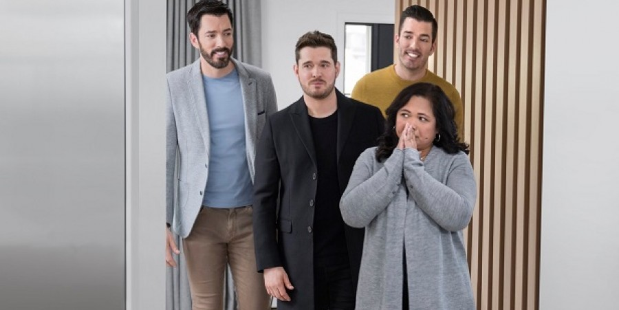 """Michael Bublé and """"Property Brothers"""" Drew and Jonathan Scott surprises Minette, the caretaker with the gift of a renovated home."""